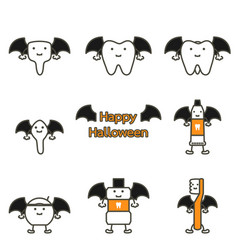 Tooth and friend in costume for happy halloween vector