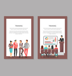 Training posters set with people discussing issues vector