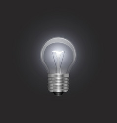 Transparent glowing electric light bulb with a vector