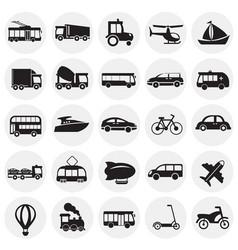 transportation and vehicles set on circles vector image