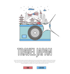 Travel japan poster with camera vector
