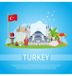 Turkey Flat Composition vector