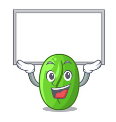 Up board character green coffee beans in market vector