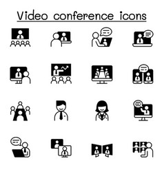 video conference icons set graphic design vector image
