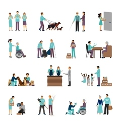 Volunteers people set vector image