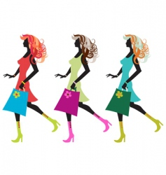 walking young women vector image