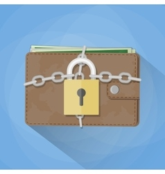 Wallet closed on the lock vector image vector image