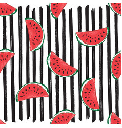 Water melon seamless pattern striped vector