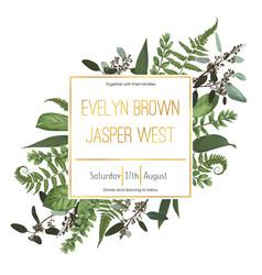 Wedding floral invitation invite card vector