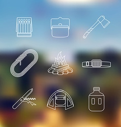 White color outline various camping icon set vector
