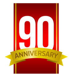 White digits 90 on red ninety years sign vector