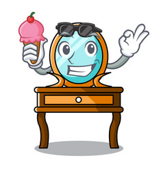 With ice cream dressing table character cartoon vector