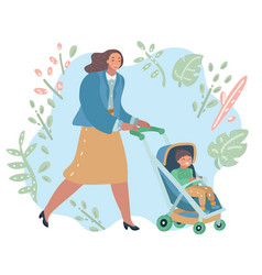 woman on a walk with son in stroll vector image