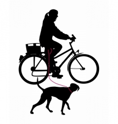 woman on bicycle with dog vector image vector image