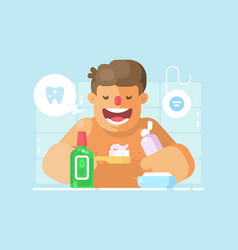 Young guy brushing teeth with whitening paste vector