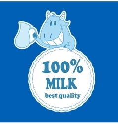 Cartoon cow with milk badge vector image vector image