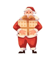 Full length portrait of Santa holding a big gift vector image vector image
