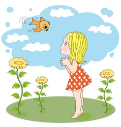Girl and bird outdoors vector image
