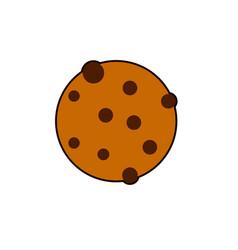 Round cookie icon flat of bitten vector