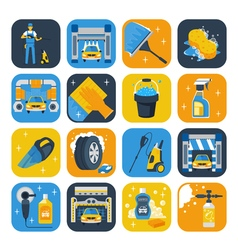 Car Wash Symbols Flat Icons Set vector image