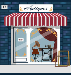 Curiosiry shop antiques shop vector