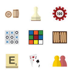 flat icon games set of ace xo cube and other vector image
