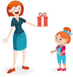 mother giving gift to daughter vector image