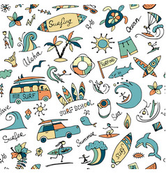 surfing seamless pattern sketch for your design vector image vector image