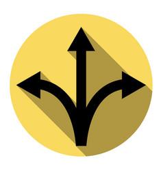 three-way direction arrow sign flat black vector image