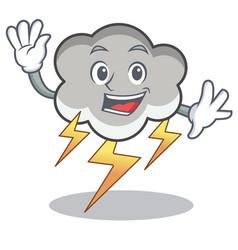 waving thunder cloud character cartoon vector image