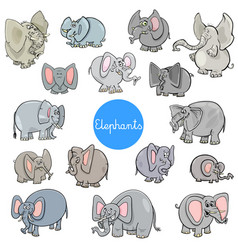 cartoon elephants animal characters collection vector image vector image
