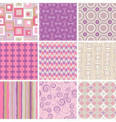 collection of nine retro style seamless patterns o vector image vector image
