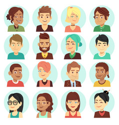 satisfied people faces happy laughing people vector image vector image