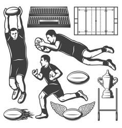 vintage rugby sport elements set vector image vector image