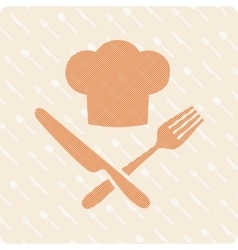 Chefs hat with knife and fork vector image vector image