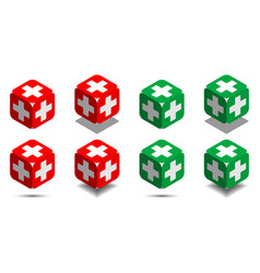 cube with medical cross in red and green colors vector image