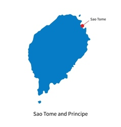 Detailed map of Sao Tome and Principe and capital vector image