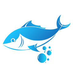 fish and water bubbles vector image vector image