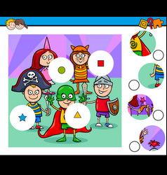 match pieces puzzle with kid at mask ball vector image vector image