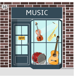 music shop s building facade of brown brick vector image