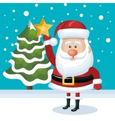 placing santa claus star tree snowfall blue vector image