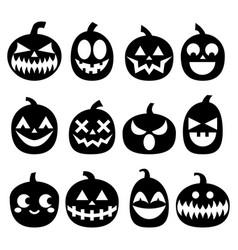 pumpkin icons set halloween scary faces de vector image vector image