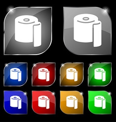 Toilet paper icon sign set of ten colorful buttons vector