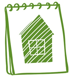 A green notebook with a drawing of a green house vector image
