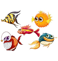 A group of sea creatures vector image