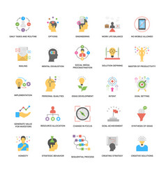 A pack of project management flat icons vector
