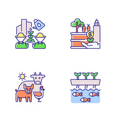 Agribusiness rgb color icons set vector