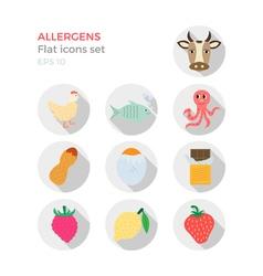 Allergens flat design icons set vector image