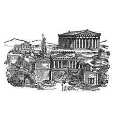 Ancient athens noted of the orations vintage vector