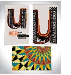 Ancient Business card design LETTER U vector